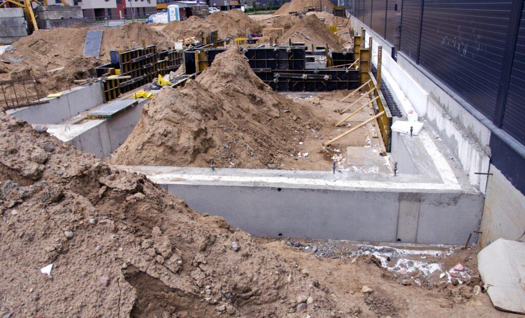under construction concrete cement foundation