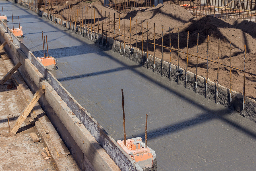 concreting the base of the building