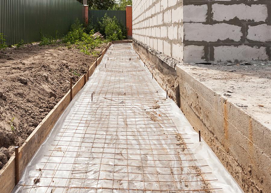 under working foundation waterproofing vapor barrier.
